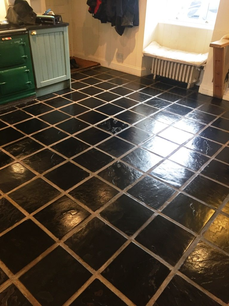 These photographs of a slate tiled kitchen floor are from a house in slate kitchen floor stripped cleaned and sealed lochwinnoch dailygadgetfo Gallery