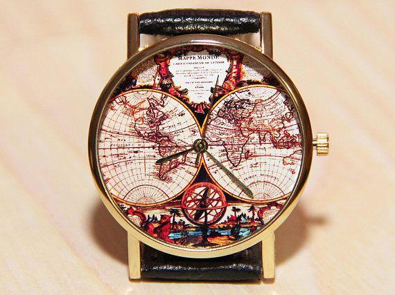 wristwatch world map clock globe clock earth mens watch