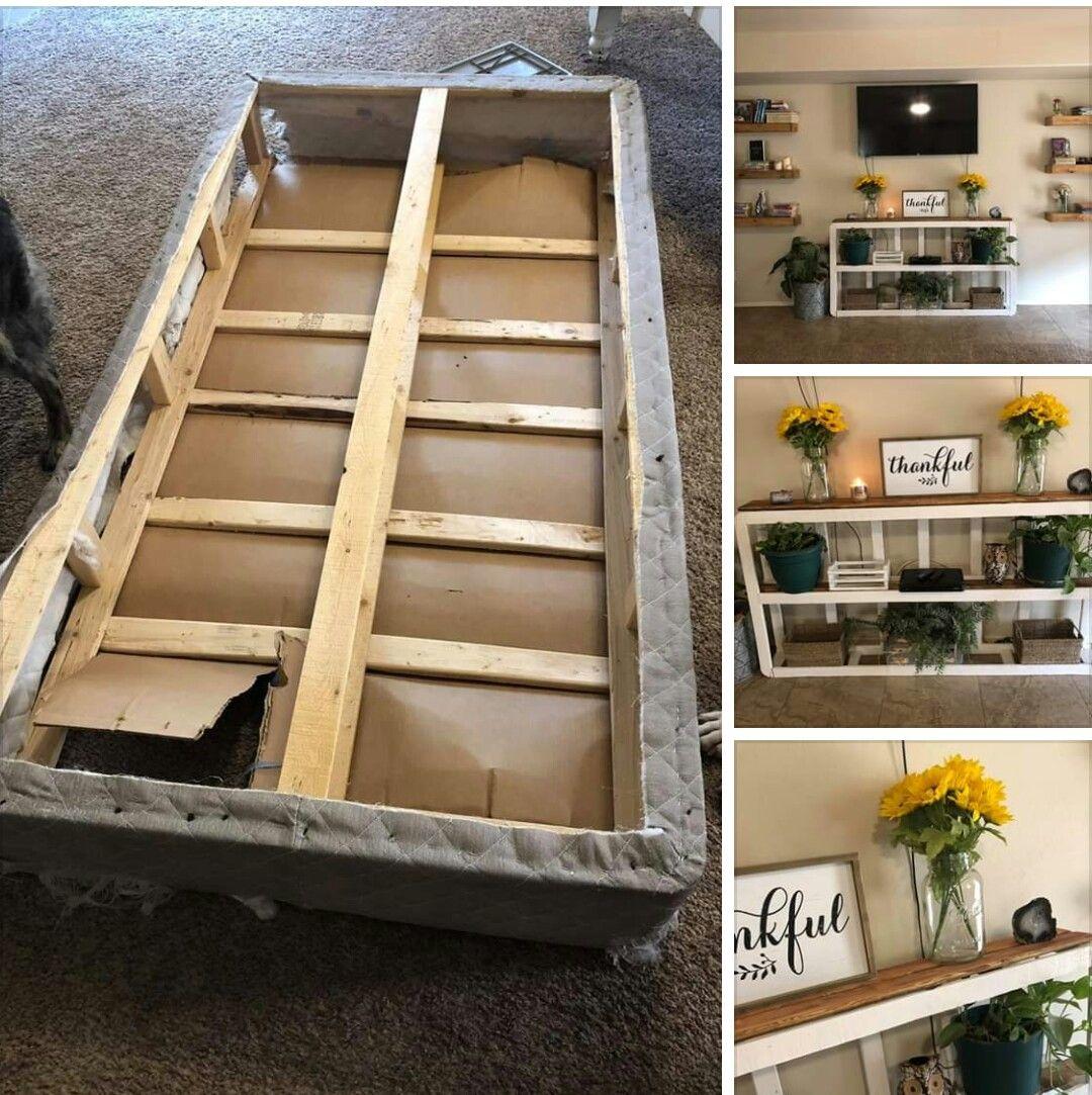Repurpose An Old Box Spring Into A Shelf Box Spring Spring Diy Projects Spring Diy