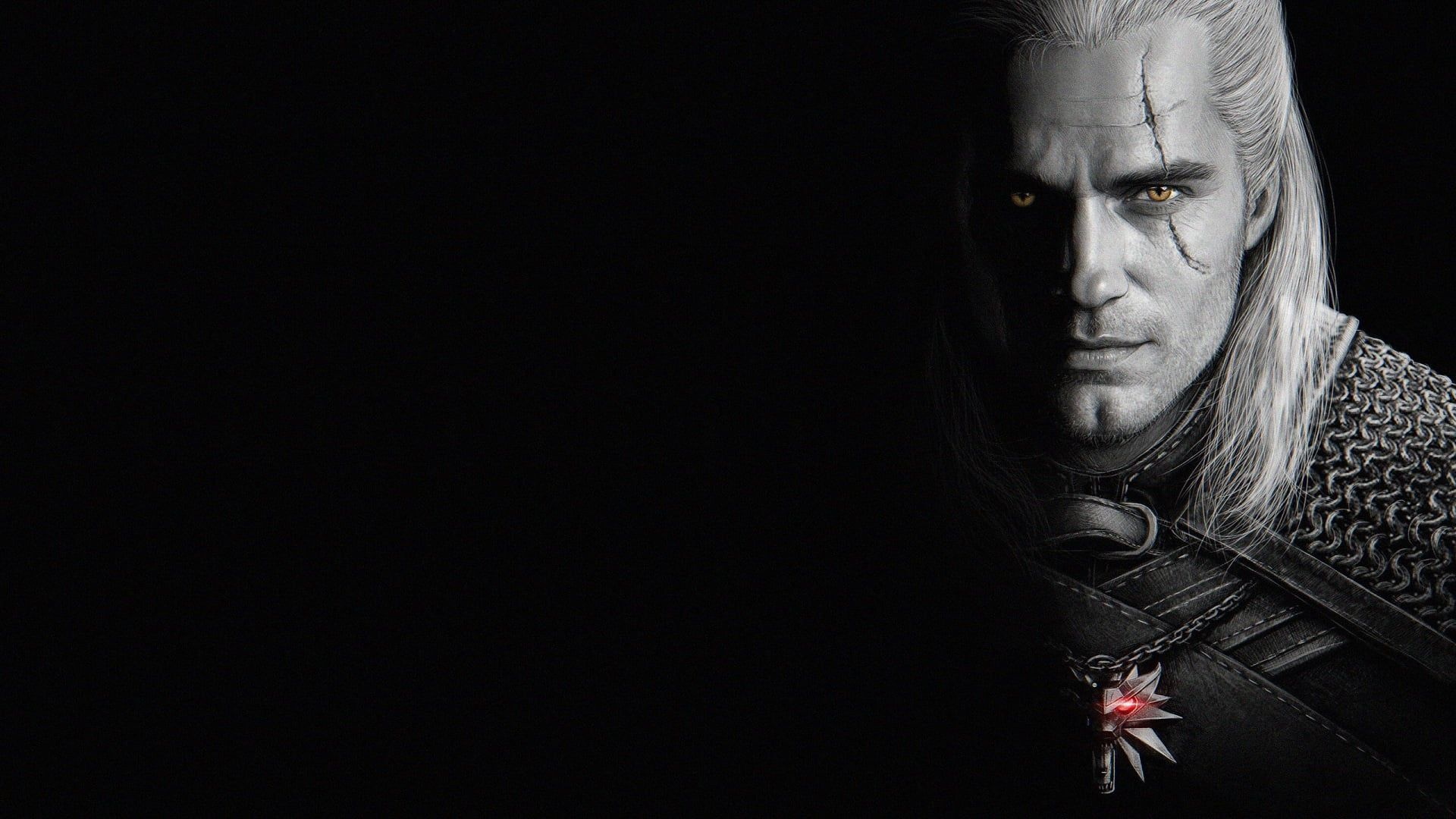 Look Male Scar The Witcher Black Background 2019 1080p Wallpaper Hdwallpaper Desktop The Witcher Black Wallpaper Henry Cavill