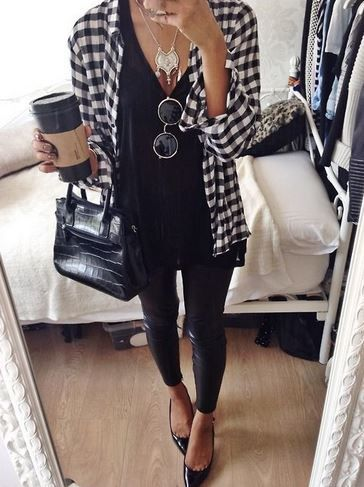 black and white plaid shirt with leather skinnies . Recreate the look and save on your favorite brands