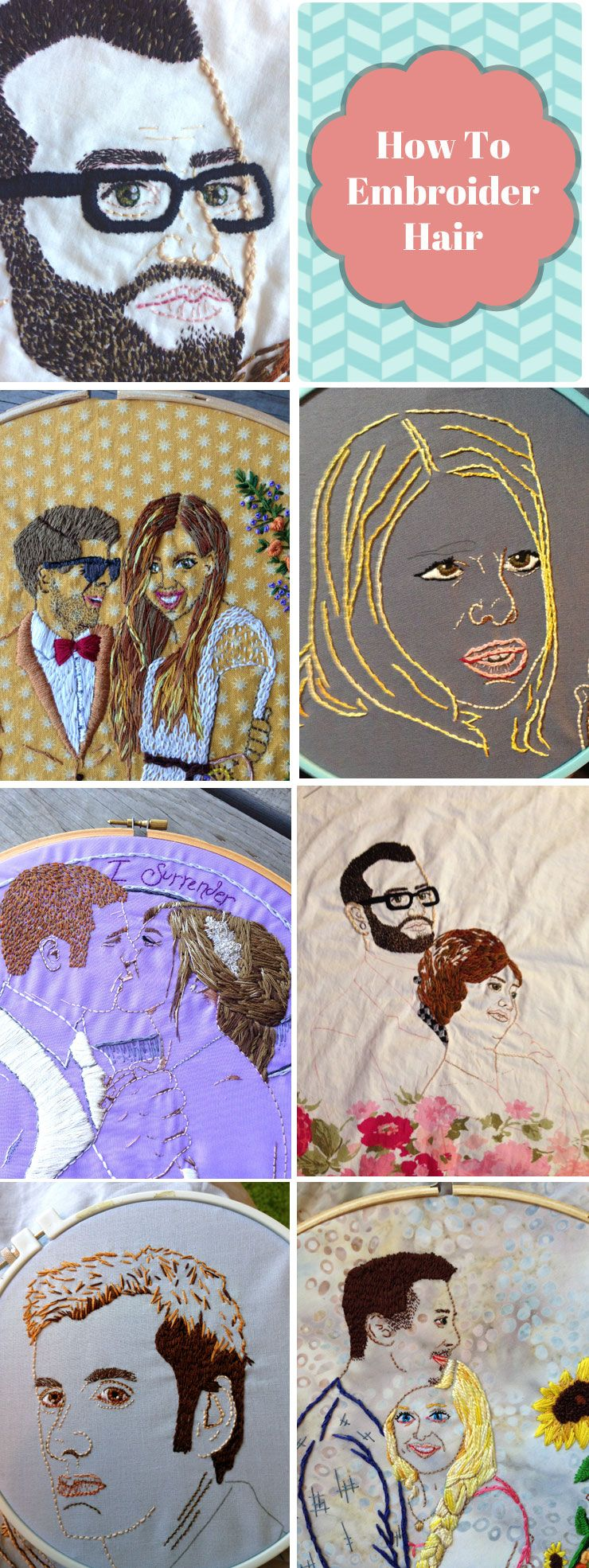 How to Embroider Hair-  A tutorial from Holey Socks Art