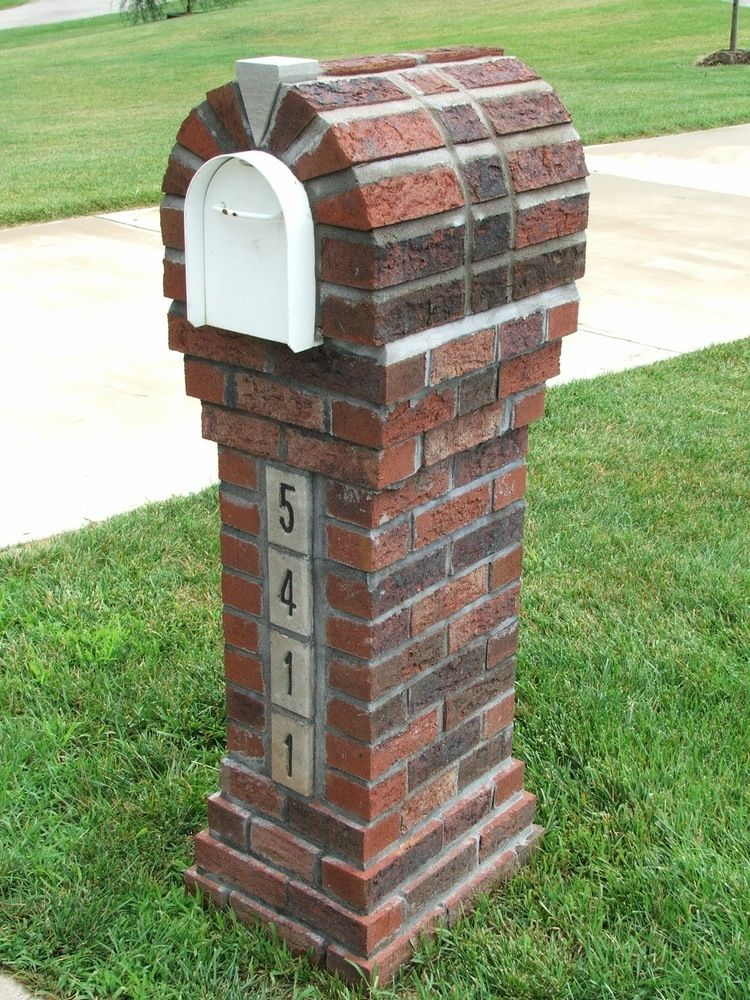 Elegant And Slim Brick Mailbox Design Idea On Green Grassy Meadow And White Accent With Bold Arched Style Mailbox Design Brick Mailbox Mailbox Landscaping