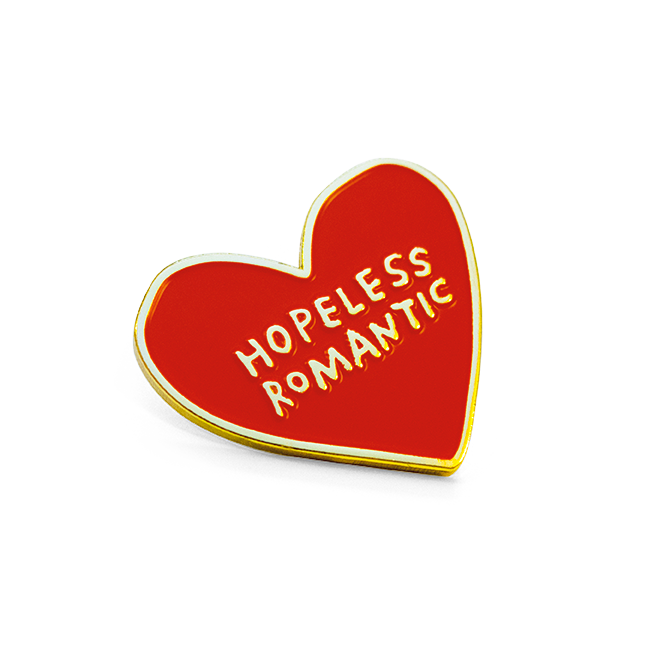 Hopeless Romantic Pin 1 Raised Soft Enameled Pin 2mm Thick