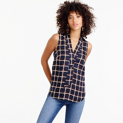 Sleeveless silk-twill top in windowpane print