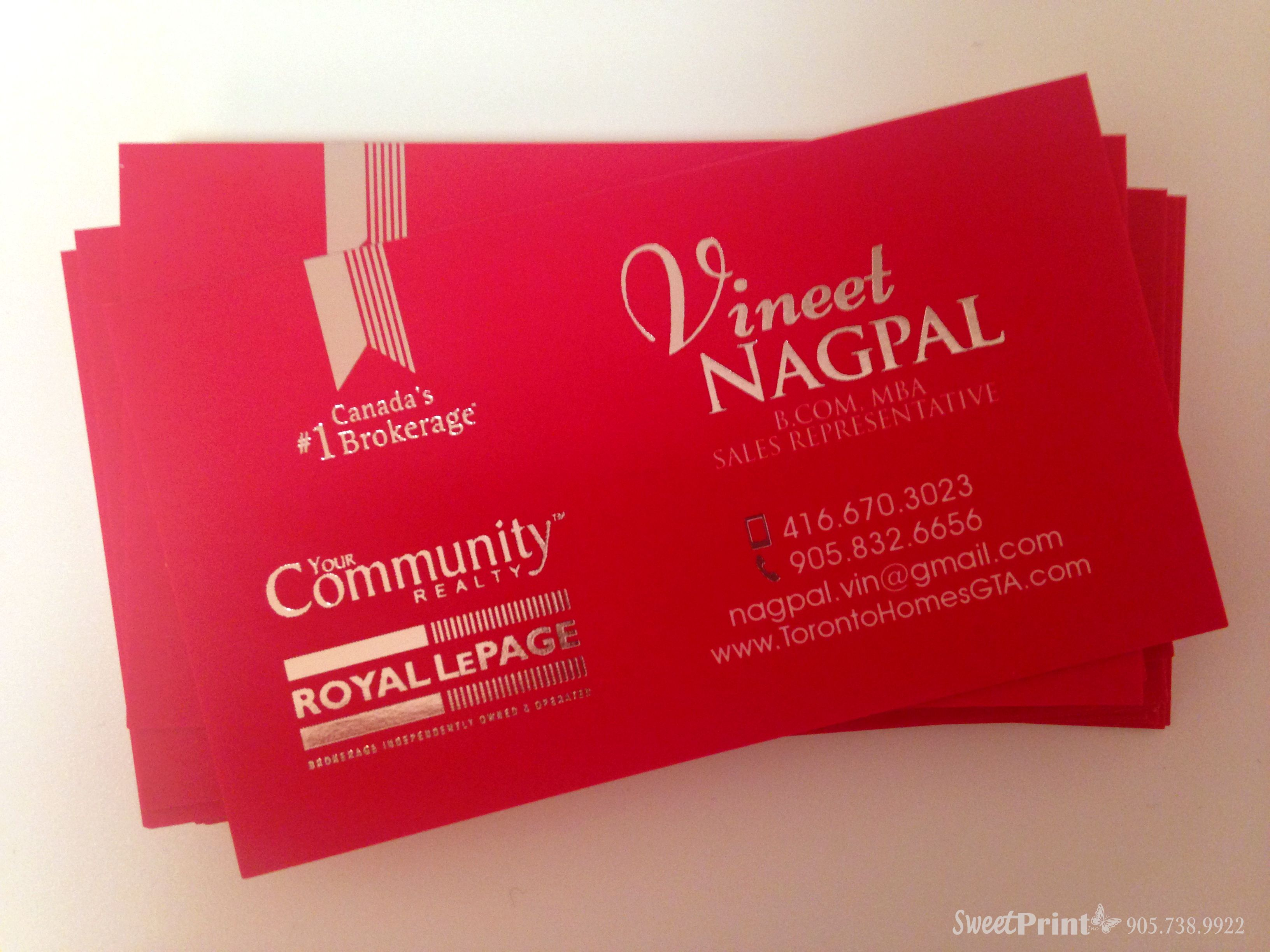 silver foil luxury business card design for royal lepage agent