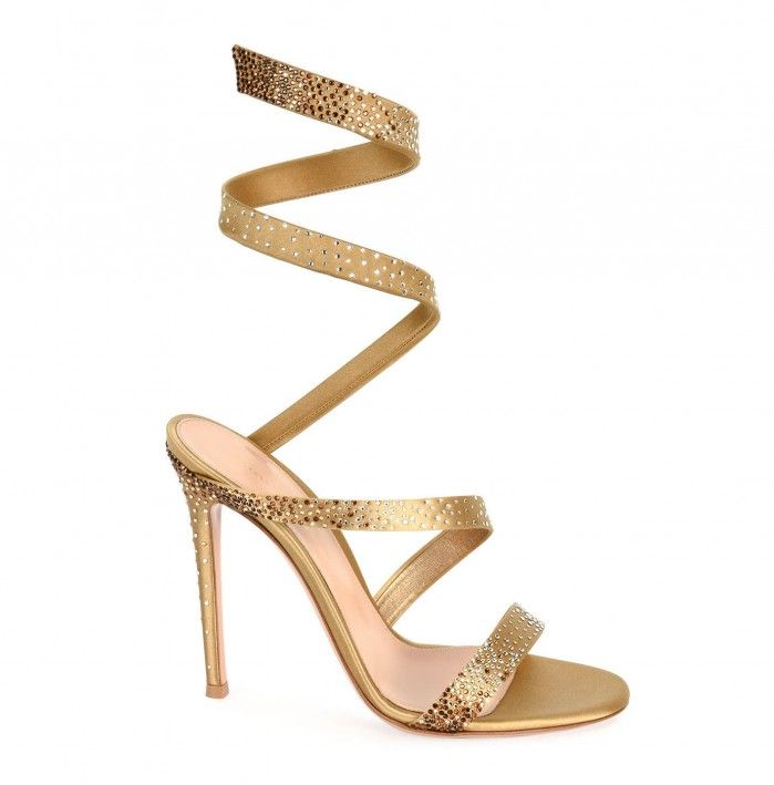 Gianvito Rossi Opera Ankle-Wrap 105mm Sandal, Gold - Shoes Post