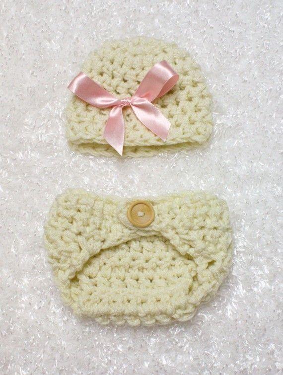 Pink Bow Natural Hat And Diaper Cover Set | Distroller, Sombreros de ...