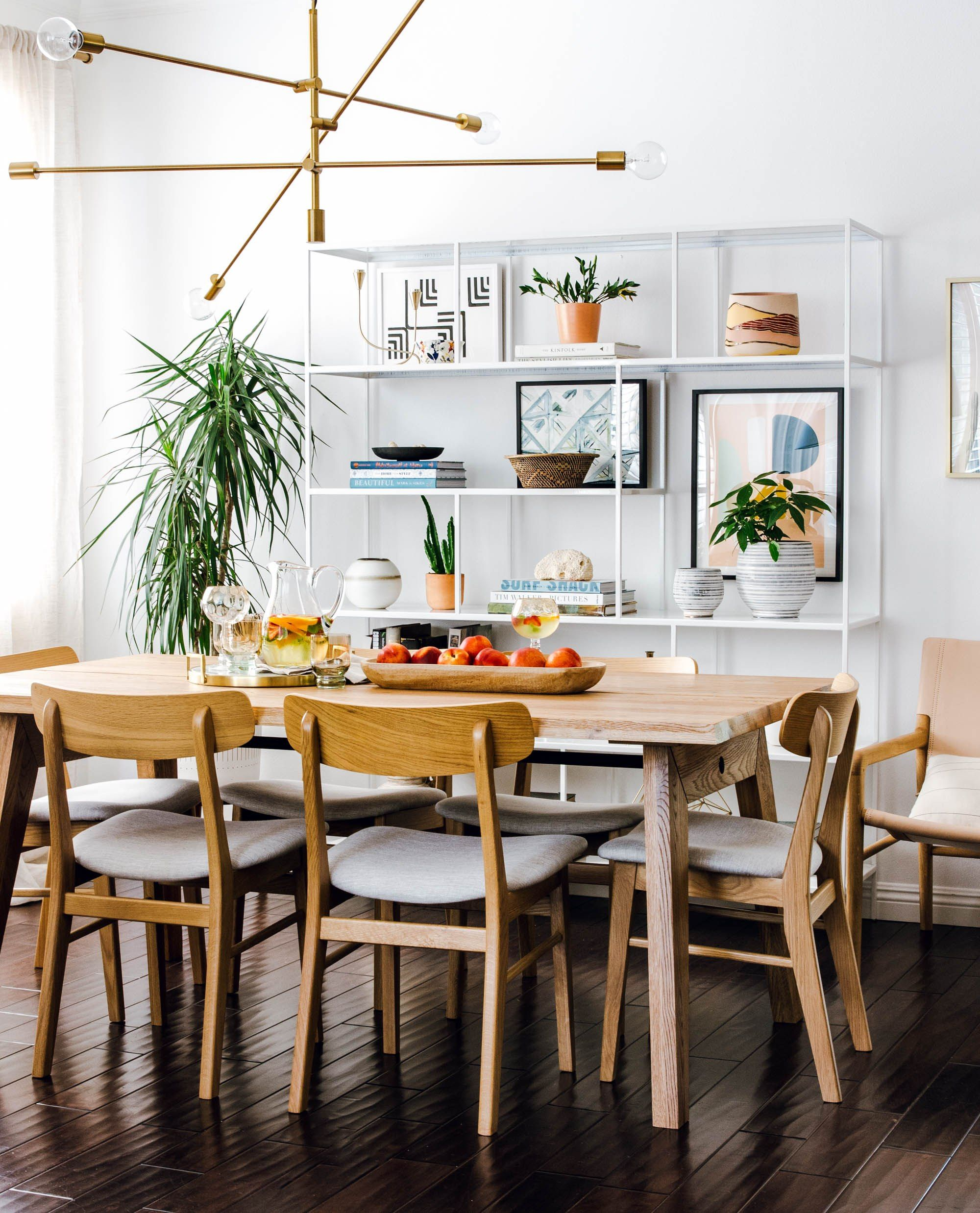 Shelving in your dining room is a great way to display art home accessories and save space come check out the sources of this mid century modern dining