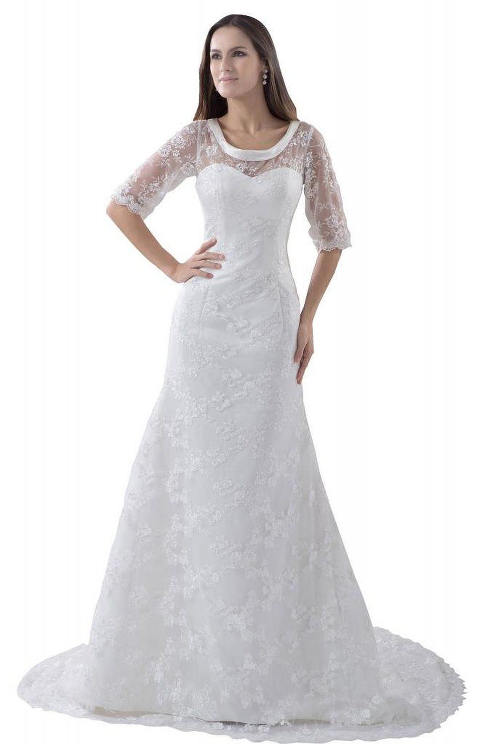 George bride elegant half sleeves lace over satin wedding dress with