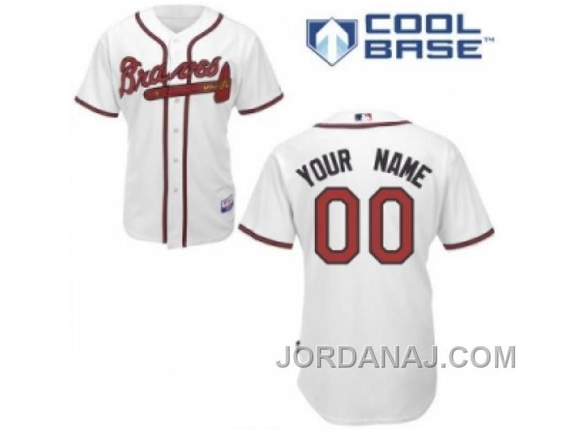 Coustom Atlanta Braves Jersey White Home Cool Base