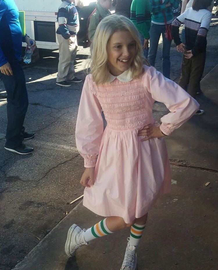 """This is eleven's 80s dress in the show """"stranger things"""" on netflix. Pretty…"""