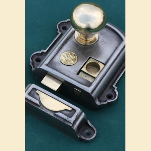 Iron & Brass Rim Lock Victorian with brass cottage rim door knobs https:// - Iron & Brass Rim Lock Victorian With Brass Cottage Rim Door Knobs