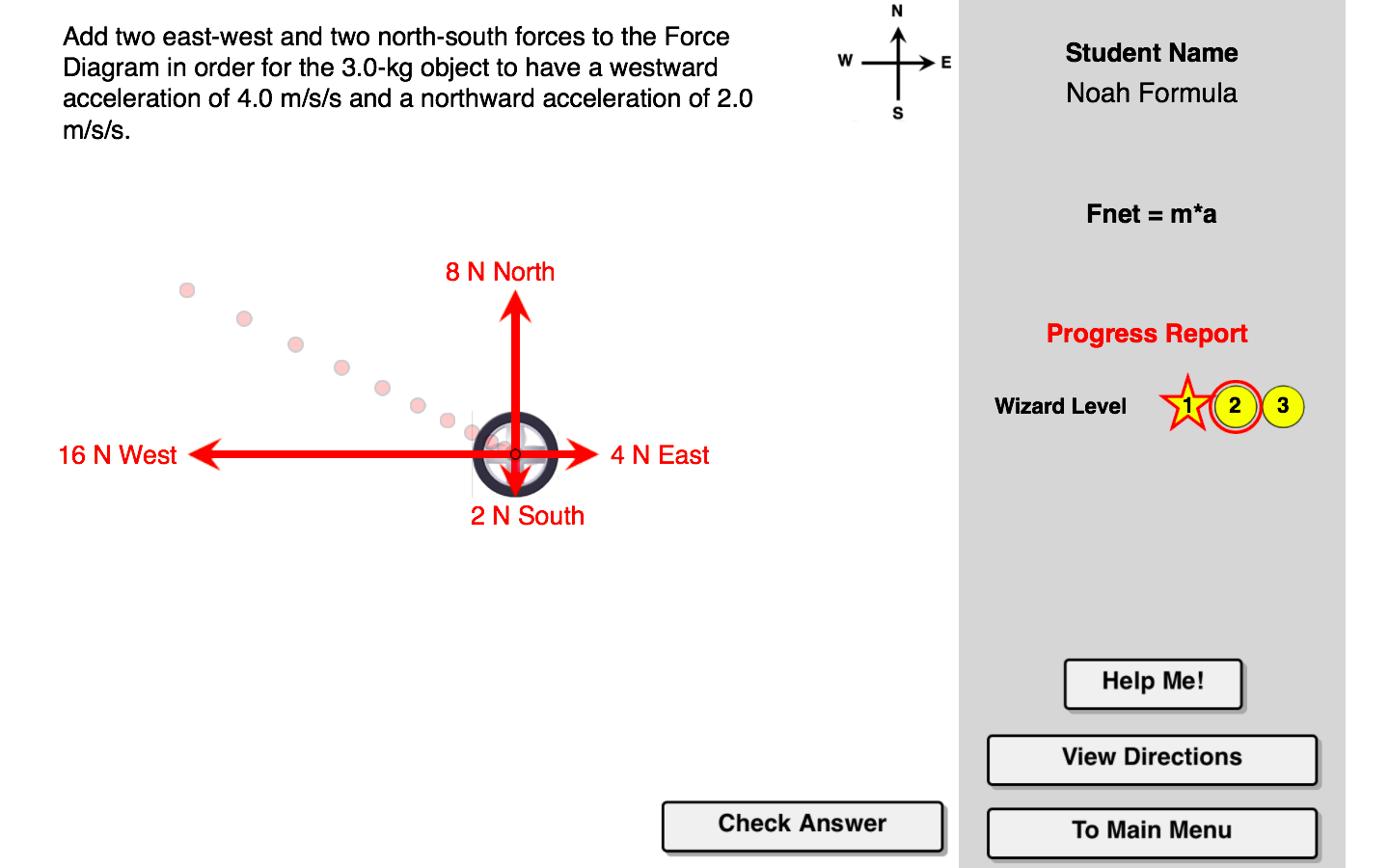 the fnet = m•a concept builder targets the concept of net force and its  relationship to mass and acceleration  learners are presented with a  physical