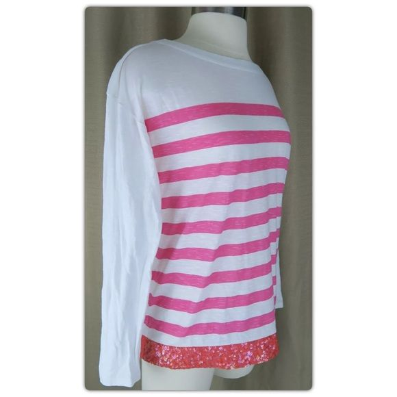 """Ann Taylor LOFT """"Sequin Hem Striped Cotton Tee"""" M Ann Taylor LOFT """"Sequin Hem Striped Cotton Tee""""  EXCELLENT CONDITION!  Sold out on the LOFT website for $44.50.  We adorned the front hem of this striped slubbed tee with a flurry of sequins, for scintillating charm.  Ballet neck. Long sleeves. Banded neckline. Drop shoulders. 100% Cotton. Imported. Machine Washable. Size & Fit Fit is true to size Hits at hip Make me an offer! LOFT Tops Tees - Long Sleeve"""