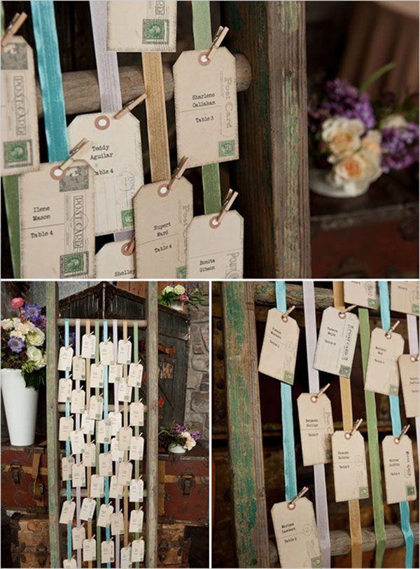 vintage velvet ribbon escort card display on ladder