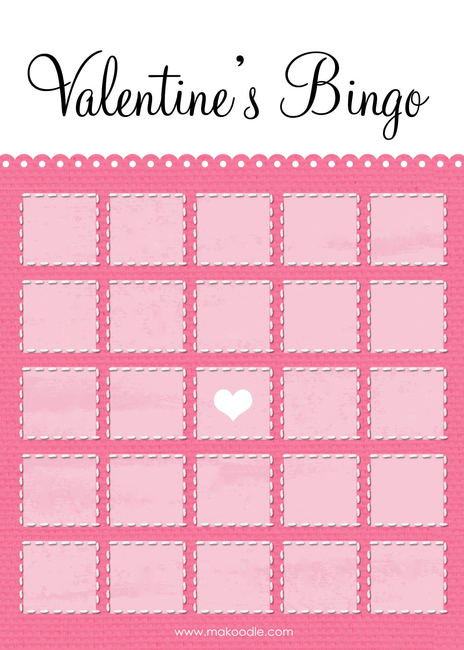 Blank Valentine Bingo Card