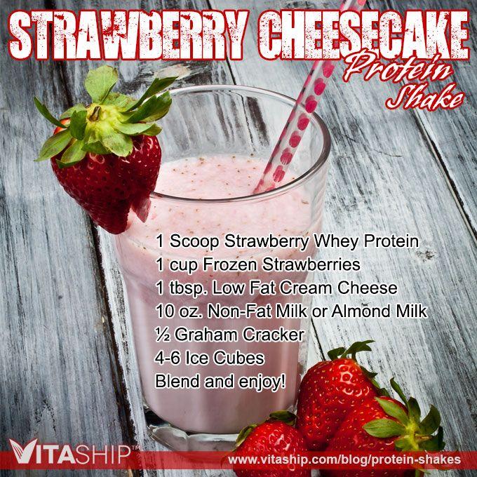 Strawberry Cheesecake Protein Shake Recipe #weightloss #proteinshakes #bodybuilding #recipes