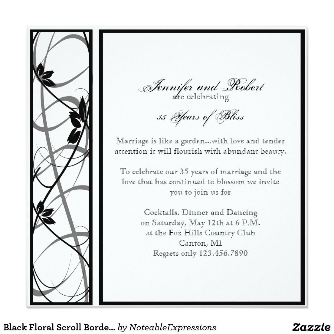 Black Floral Scroll Border Wedding Anniversary Invitation ...