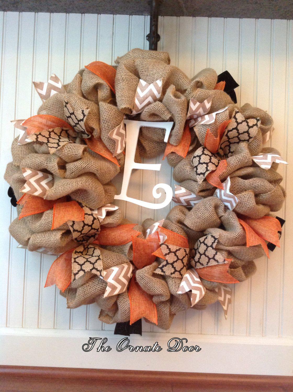 Fall burlap wreath, fall burlap wreath with initial, burlap ...