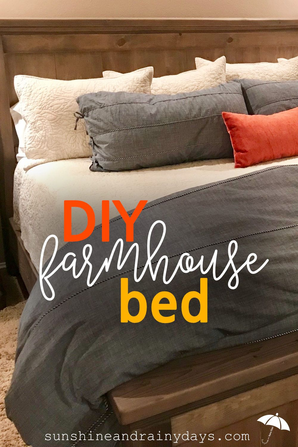 Diy King Size Farmhouse Bed In 2020 Farmhouse Bedding Diy Farmhouse Bed Bed
