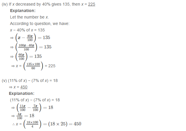 Percentage RS Aggarwal Class 7 Maths Solutions Exercise CCE Test