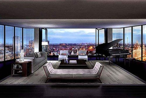 The Penthouse, London, UK: $200,000,000.00  This Hyde Park located apartment is the most expensive flat and apartment in the world with a price of 6,000lbs per sq/ft. The first main feature of this apartment is Security. You can find panic rooms, bulletproof window, Iris scanner, a tunnel to nearby of Mandarin hotel and of course it's served 24 hours. The facilities you can find here are communal spas, squash courts and you can also find a wine tasting room here.