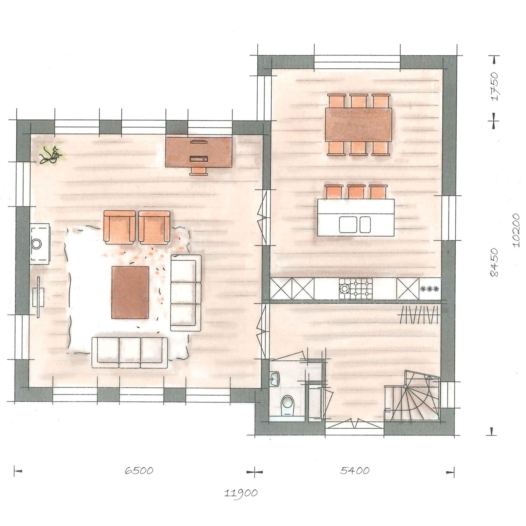 Villa kleine vuurvlinder plattegrond begane grond for Kleine huizen bouwen