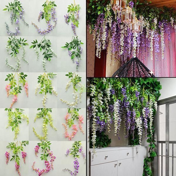 BE/_ Hanging Artificial Silk Wisteria Fake Garden Flowers Plants Vines Decor Eyef