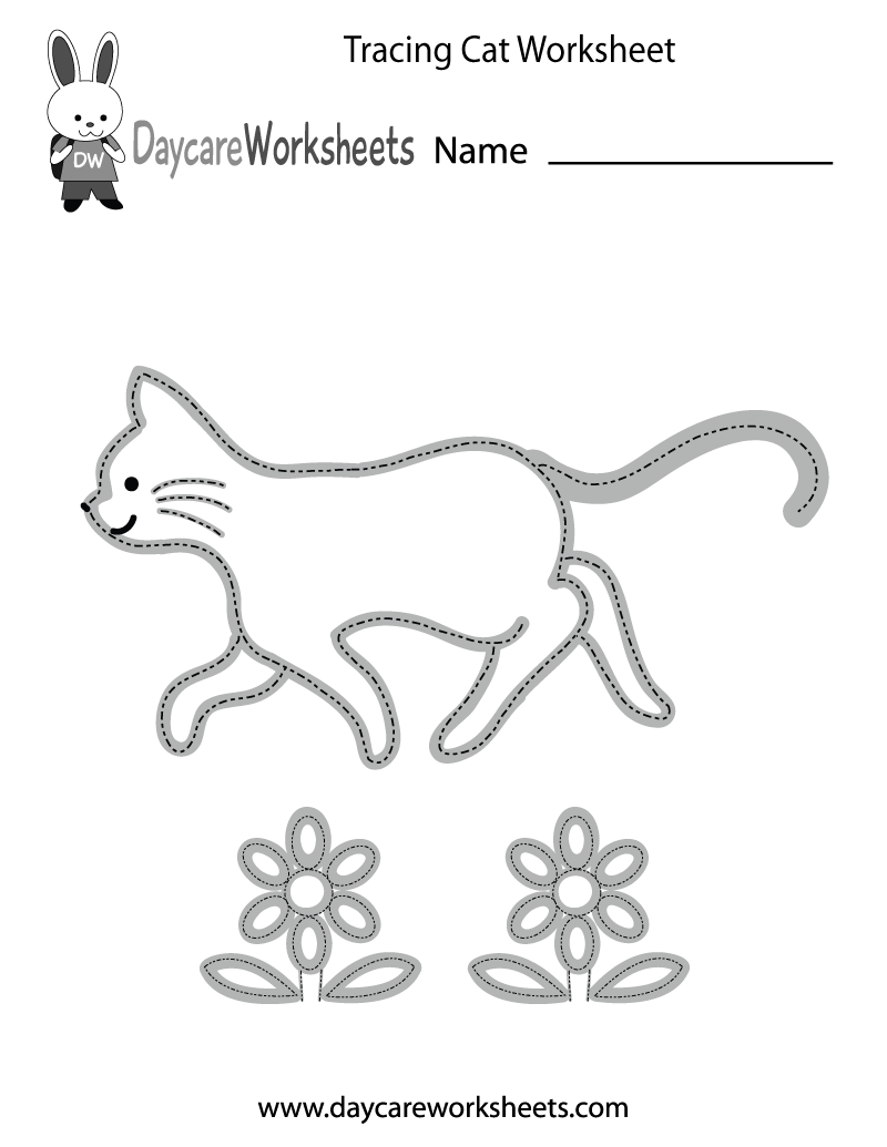 Preschoolers can trace a cat and two flowers and then