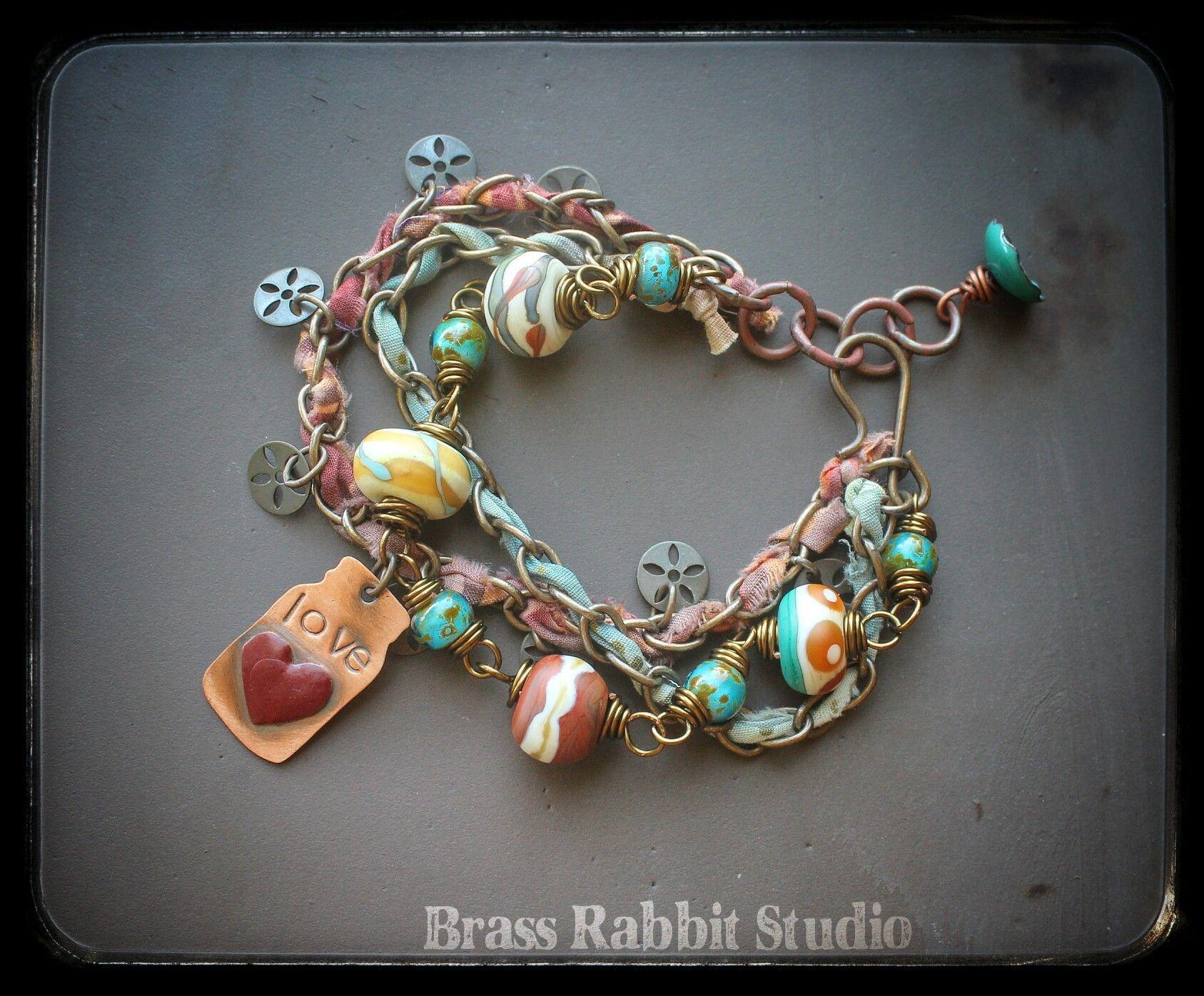 Bottled Love, mixed media bracelet | Brass Rabbit Studio
