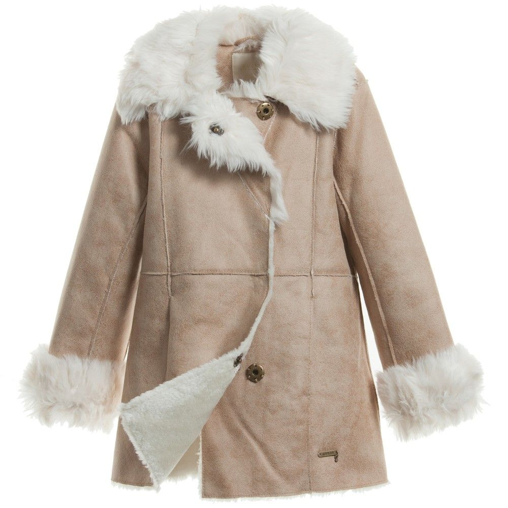 Guess girls beige brown artificial sheepskin coat. Designed in a ...