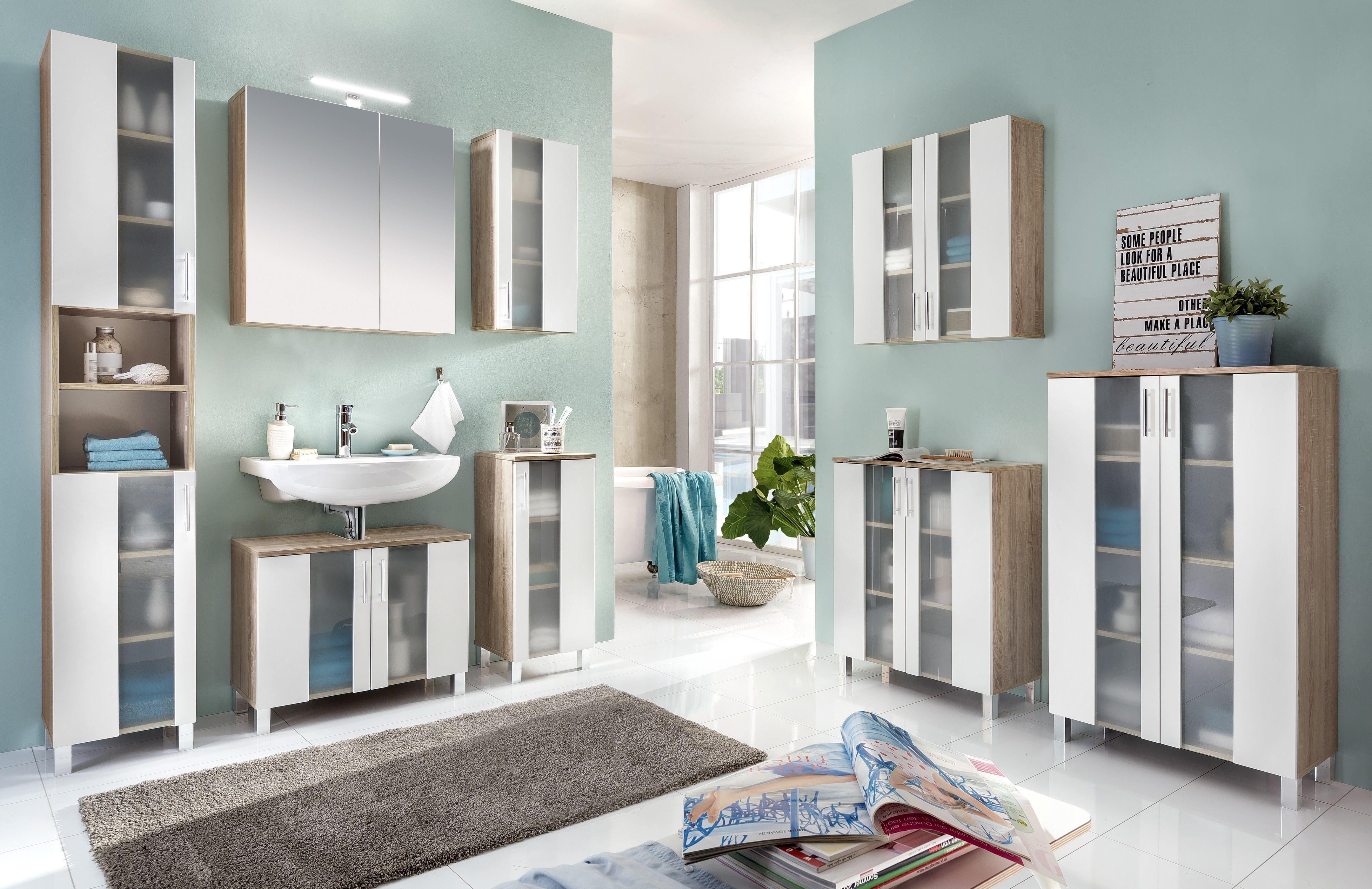 Badezimmer Set Weiss/ Eiche Sägerau Woody 93 01056 Holz Modern Jetzt  Bestellen Unter:
