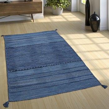 Schöner Blauer Webteppich Im Kelim Style #gemustert #wohnzimmer # Schlafzimmer #flur #