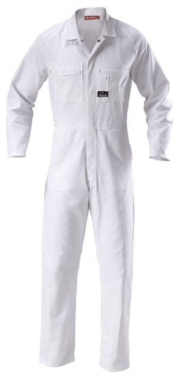 hard yakka y00010 cotton drill coverall white work on work coveralls id=53284