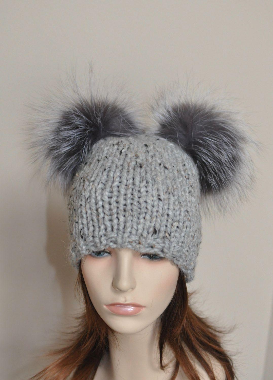 6d3b2256bce Double Pompom Hat 2 Bobble Hat 2 Fur Pom Pom Beanie Hat SALE Ski Women Hat  Kylie Jenner Style Christmas Gift under 100 by lucymir on Etsy