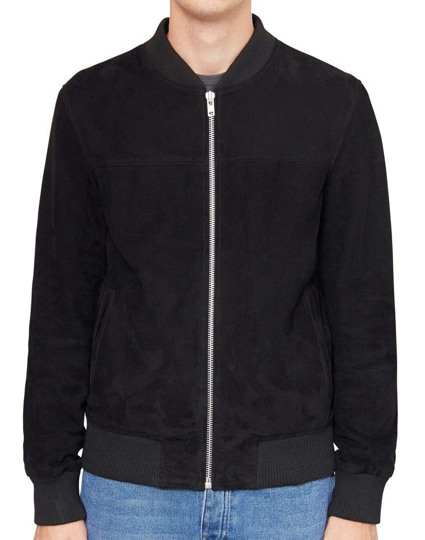 The Idle Man Suede Bomber Jacket Black Leather Jacket Men Style Stylish Jackets Mens Jackets Casual [ 1100 x 866 Pixel ]