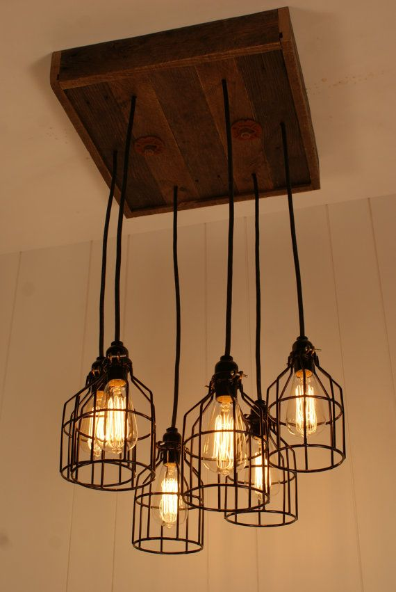 Industrial Lighting Chandelier Black With Reclaimed Wood And 6 Pendants R 1818 BC