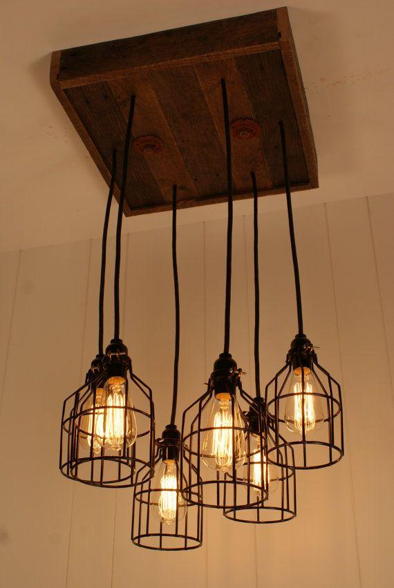 industrial lighting chandelier. cage light chandelier lighting industrial edison bulb upcycled wood n