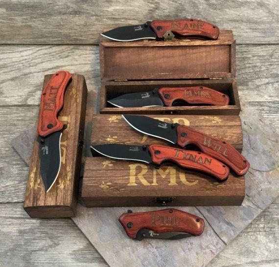 Set of 5 Engraved Knives Gift Groomsmen Pocket Knives and
