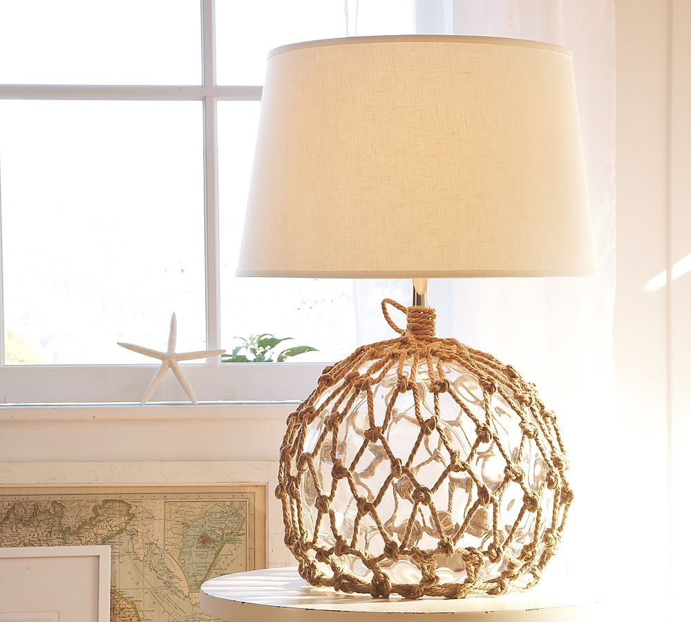 Glass Lamp With Fishing Net Beach Cottage Decor Affordable Decor Beach Decor