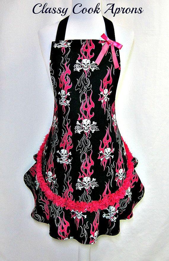 Apron SKULLS in FLAMES, Pink & Black, SEXY Goth, CHIFFON Trim, Designer Pretty Party Hostess, Unique Kitchen Gift, by ClassyCookAprons, $38.50