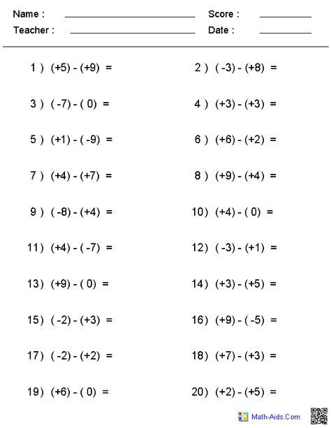 Subtraction Of Integers Worksheets New Integers Topic Area