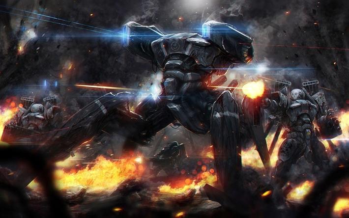 Download Wallpapers 4k Robots Battle Monsters Darkness Besthqwallpapers Com Concept Art Sci Fi Concept Art Science Fiction Art