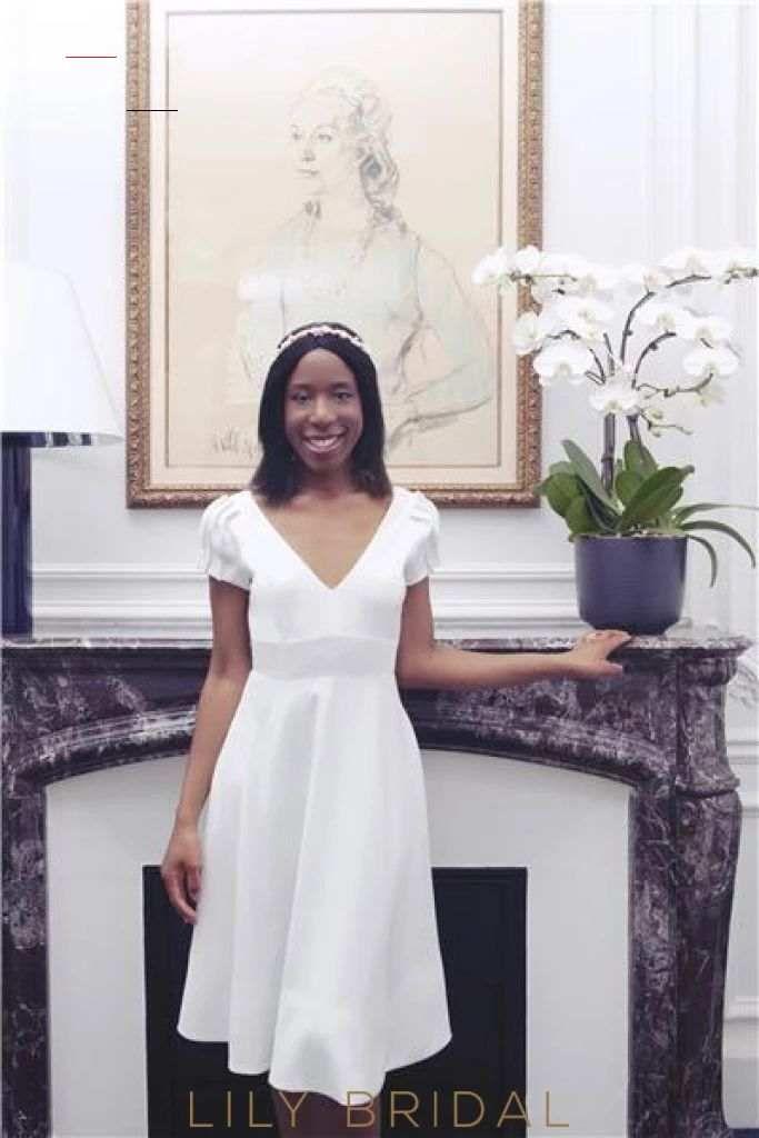 Bow-knot V-Neck Short Sleeves Lace-Up Tea-Length Satin Wedding Dress – LilyBridal <a class=pintag href=/explore/dress/ title=#dress explore Pinterest>#dress</a> <a class=pintag href=/explore/fashion/ title=#fashion explore Pinterest>#fashion</a> <a class=pintag href=/explore/homedecor/ title=#homedecor explore Pinterest>#homedecor</a> <a class=pintag href=/explore/lifequotes/ title=#lifequotes explore Pinterest>#lifequotes</a> <a class=pintag href=/explore/frases/ title=#frases explore Pinterest