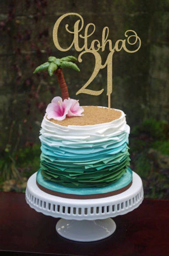 Aloha 21 Birthday Cake Topper 21st Decorations Party 21s