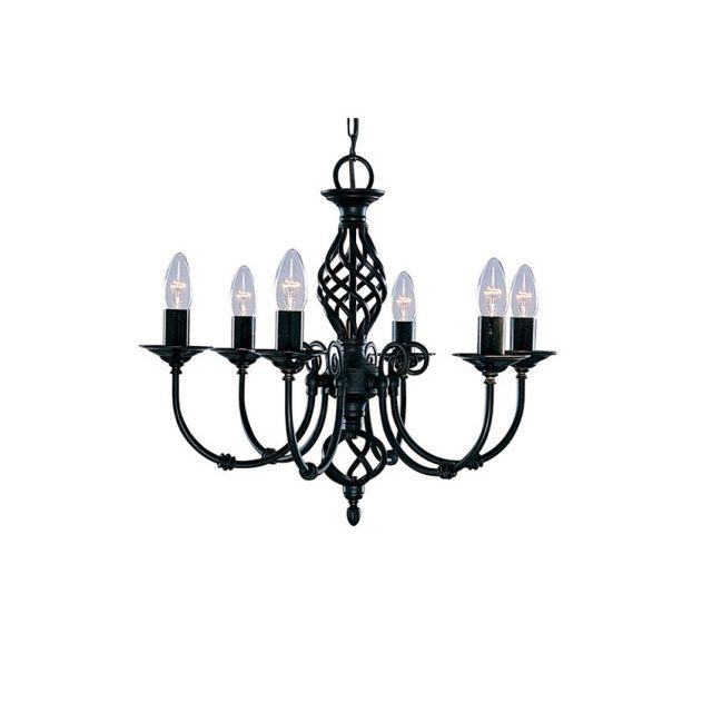 ZANZIBAR - šesťramenný sviečkový luster - čierny kov