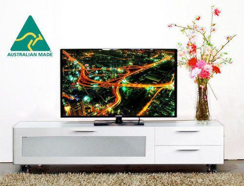 Perth 2 0m Satin White Lowline Entertainment Units White Tv