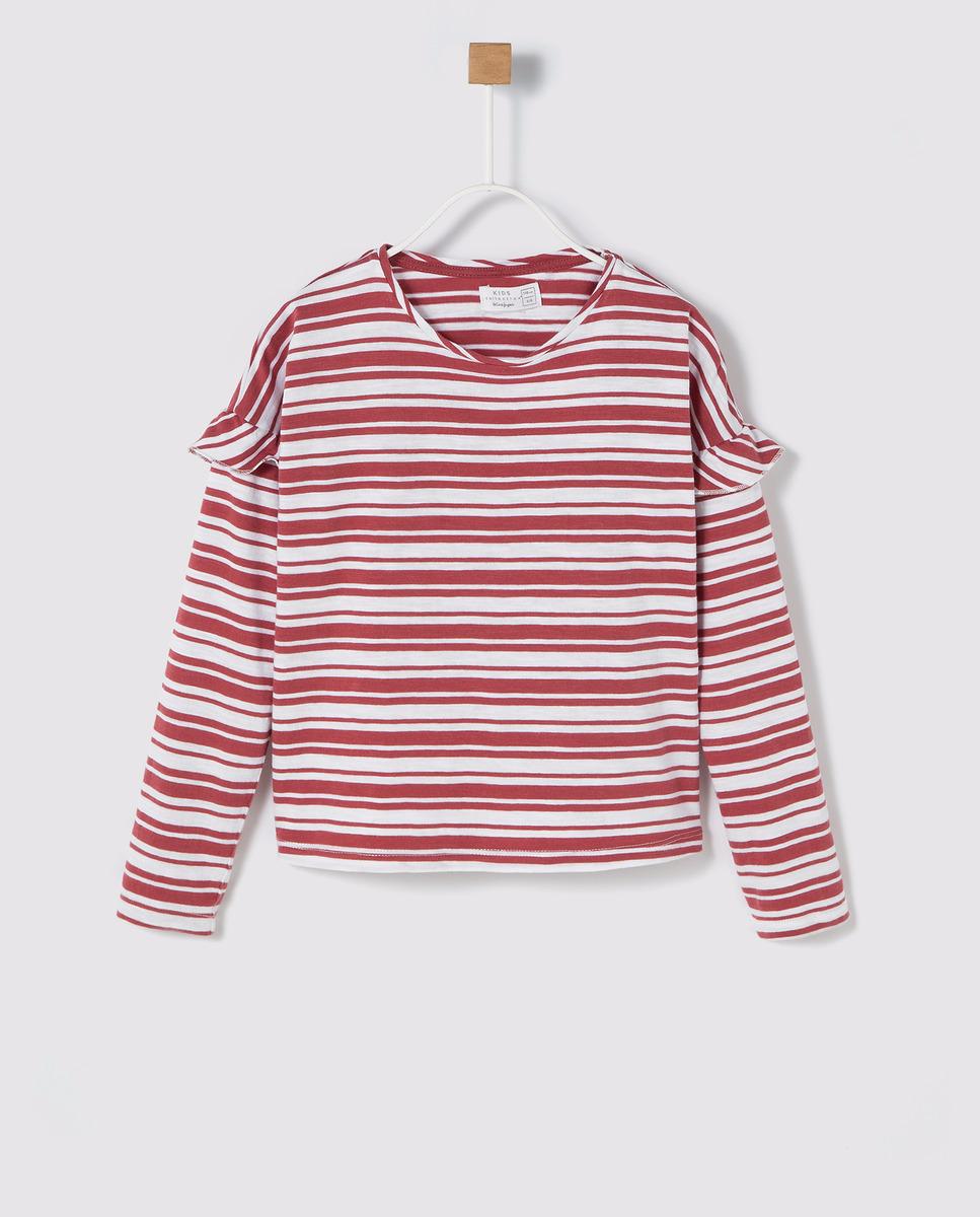 deebd9f15 Camiseta de niña Brotes de rayas con volantes rojo | MY WORK BROTES ...