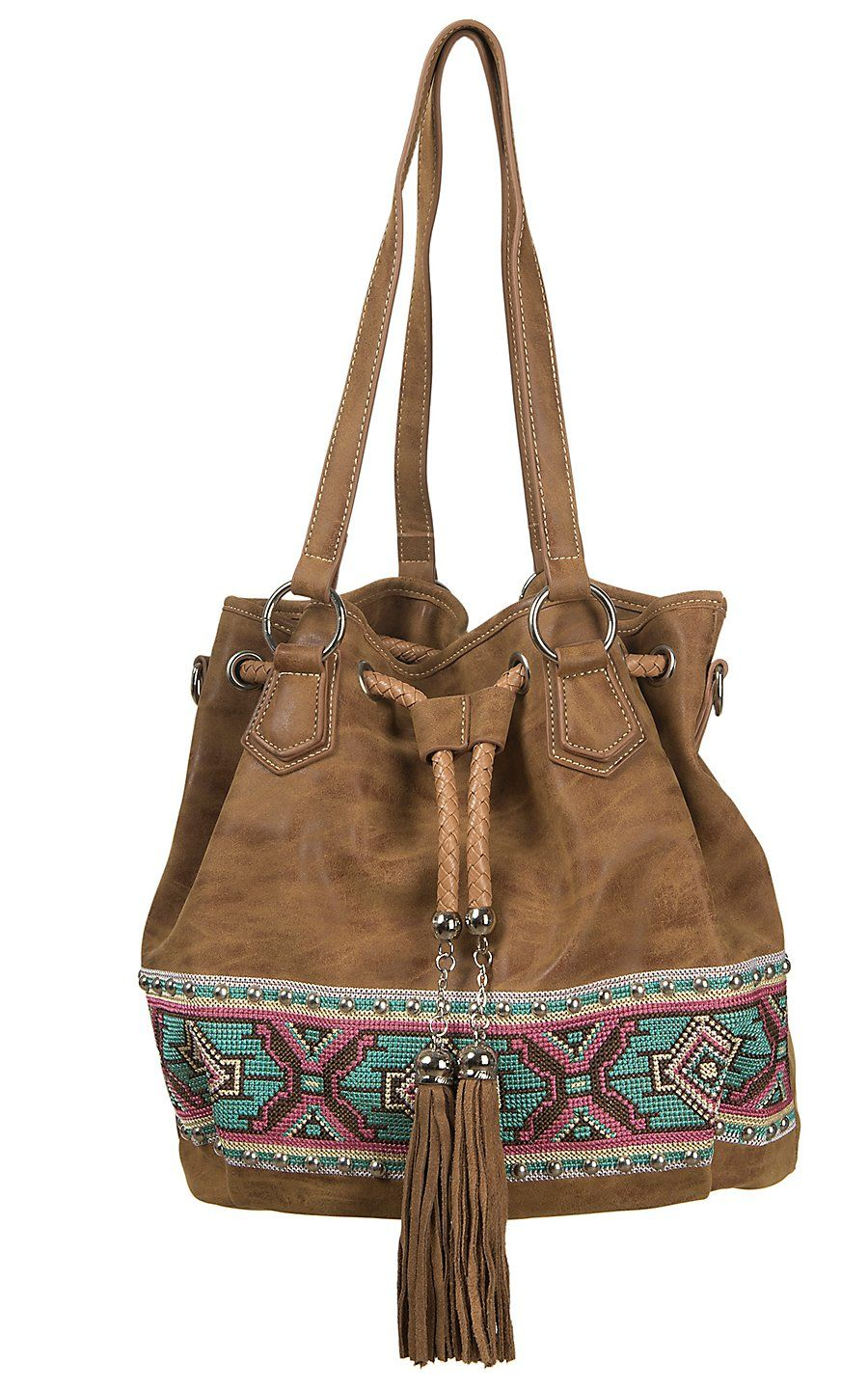 Blazin Ro Tan With Colorful Aztec Embroidery Studs Fringe Drawstring Bucket Bag Cavender S